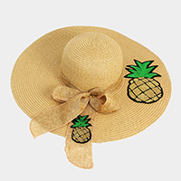 Pineapple Bow Paper Straw Sun Hat