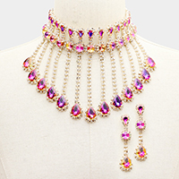 Rhinestone Crystal Multi Teardrop Drop Evening Necklace