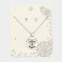 'Mom & Daughter' Round Metal Pendant Necklace