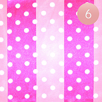 6PCS - Satin Striped Polka Dot Print Scarf