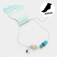 Shell Metal Wave Charm Sea Glass Anklet