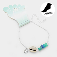 Shell Metal Charm Sea Glass Anklet