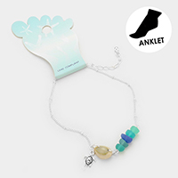 Shell Metal Turtle Charm Sea Glass Anklet