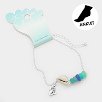 Shell Metal Mermaid Charm Sea Glass Chain Anklet