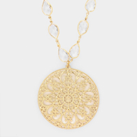 Metal Filigree Round Crystal Teardrop Long Necklace