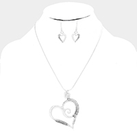 Wire Wrapped Cut Out Heart Metal Pendant Necklace