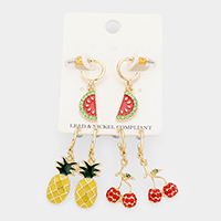 3Pairs - Enamel Pineapple Cherry Watermelon Earrings