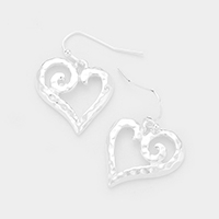 Hammered Metal Cut Out Heart Earrings