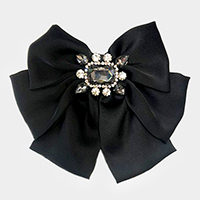 Crystal Solid Ribbon Bow Tie / Hair Pinch Clip Dual