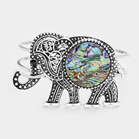 Embossed Metal Elephant Abalone Wire Hinged Bracelet