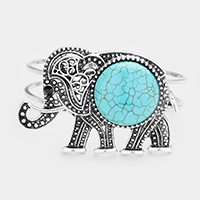 Embossed Metal Elephant Turquoise Wire Hinged Bracelet