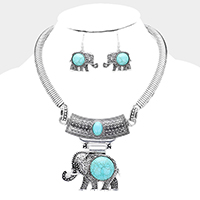 Natural Stone Embossed Metal Elephant Pendant Necklace