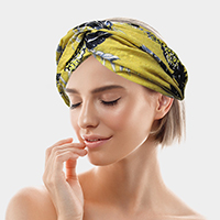 Tropical Pattern Wide Mesh Knotted Stretch Headband