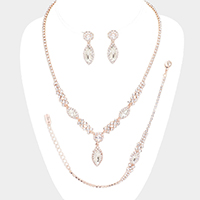 3PCS - Crystal Marquise Rhinestone Pave Necklace Set