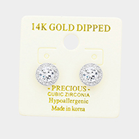 14K White Gold Dipped 5mm CZ Hypoallergenic Stud Earrings