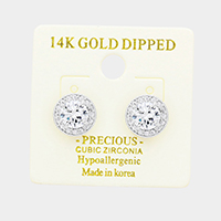 14K White Gold Dipped 6mm CZ Hypoallergenic Stud Earrings