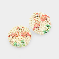 Woven Straw Round Flamingo Earrings
