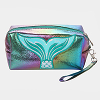 Mermaid Embroidery Hologram Pouch Bag