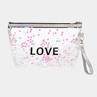'Love' Transparent Heart Pouch Bag