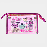 'Kiss Fashion' Cosmetics Print Hologram Pouch Bag