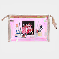 'Make Up' Cosmetics Print Hologram Pouch Bag