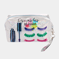 'Eyelashes in Color' Mascara Print Hologram Pouch Bag