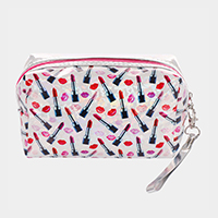 'Make Up' Lipstick Print Hologram Pouch Bag
