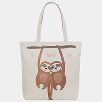 'I Love You' Sloth Print Tote Bag