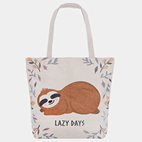 'Lazy Days' Sloth Floral Print Tote Bag