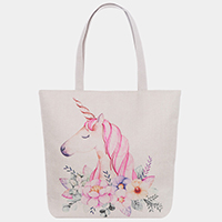Unicorn Floral Print Tote Bag