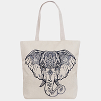 Patterned Elephant Print Tote Bag