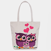 Triple Owl Heart Print Tote Bag