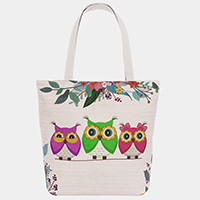 Triple Owl Floral Branch Print Tote Bag