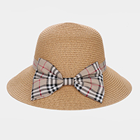 Plaid Check Bow Accented Straw Sun Hat