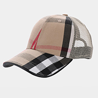 Plaid Check Cotton Cap