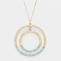 Semi Precious Turquoise Detail Metal Round Long Necklace