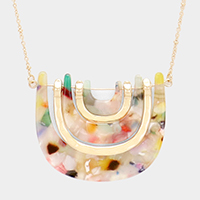 Geometric Celluloid Acetate Hammered Metal Long Necklace