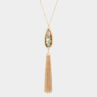 Abalone Teardrop  Chain Tassel Pendant Long Necklace