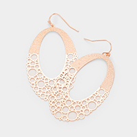 Filigree Cut Out Oval Brass Metal Earrings