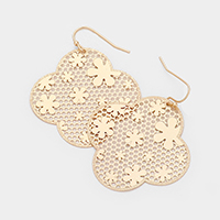 Floral Filigree Brass Metal Earrings