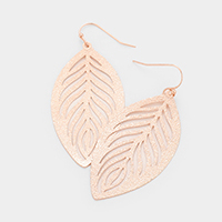 Leaf Filigree Brass Metal Earrings