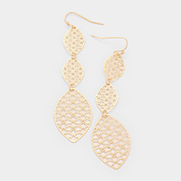 Triple Oval Filigree Metal Earrings