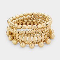 5PCS - Metal Bead Stretch Bracelet