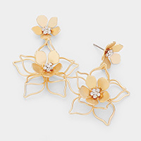 Crystal Round Bloom Metal Flower Dangle Earrings