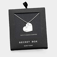 Secret box _ White Gold Dipped Heart Pendant Necklace
