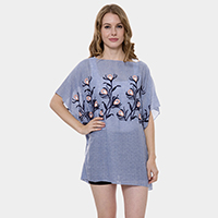 Floral Embroidery Cover Up Poncho