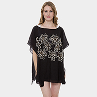 Floral Embroidery Detail Cover Up Poncho