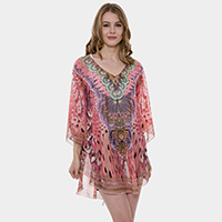 Mixed Print Cover Up Poncho