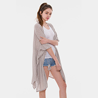 Solid Color Ripped Drawstring Cover Up Kimono Cardigan