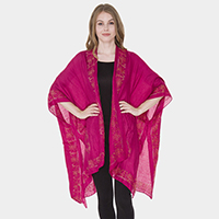 Paisley Oversized Topper Cover Up Kimono Cardigan